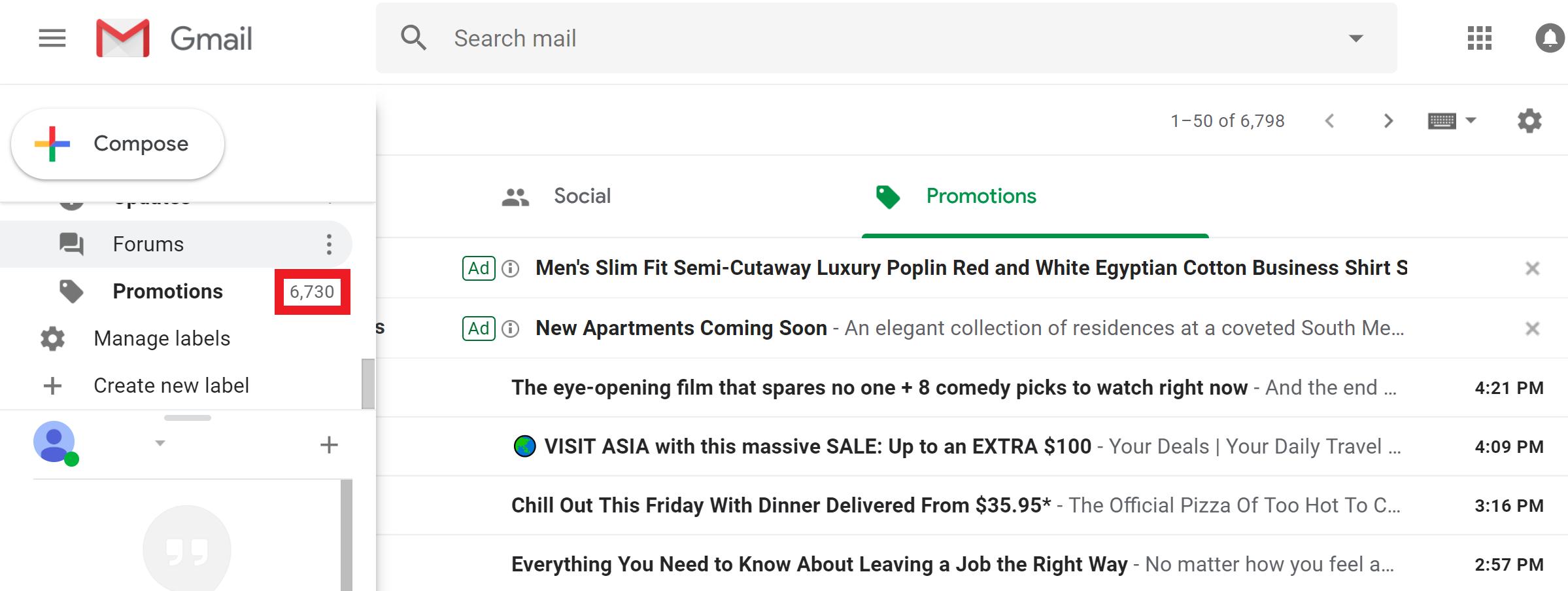 Google Promotions Folder