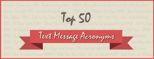 TXT SLNG: Top 50 Text Message Acronyms
